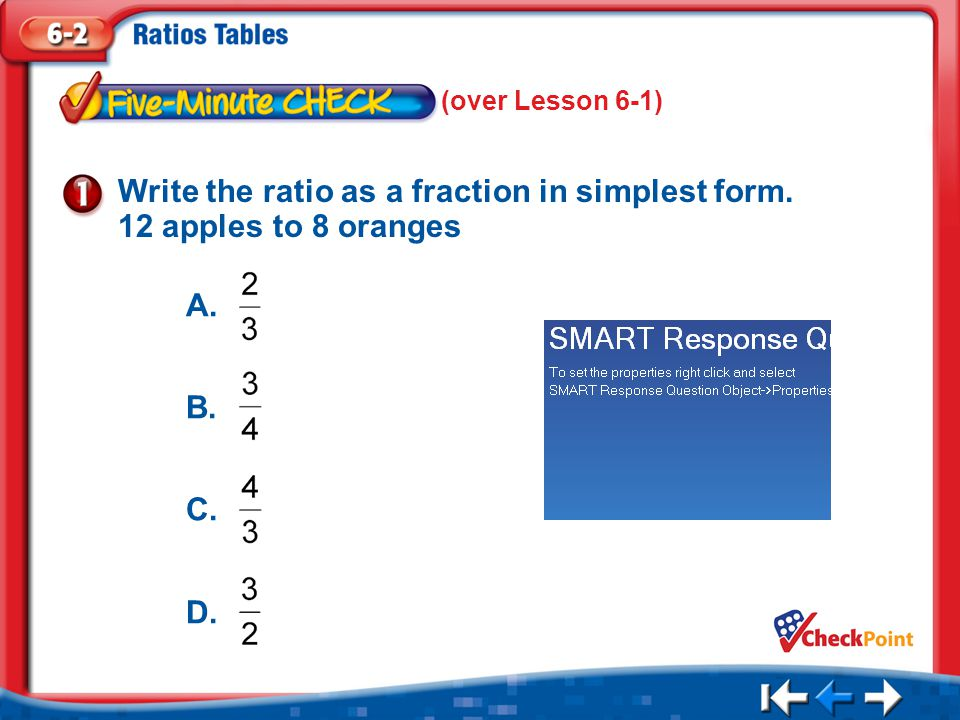 Write the ratio as a fraction in simplest form. 12 apples to 8 oranges