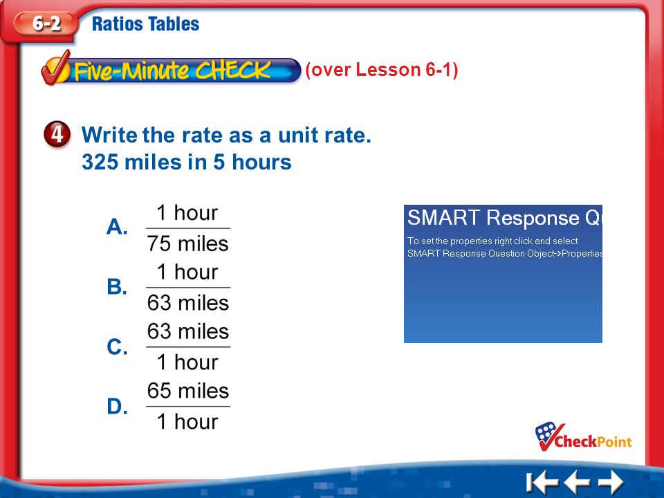 Write the rate as a unit rate. 325 miles in 5 hours