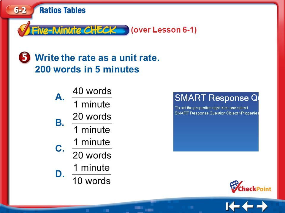 Write the rate as a unit rate. 200 words in 5 minutes