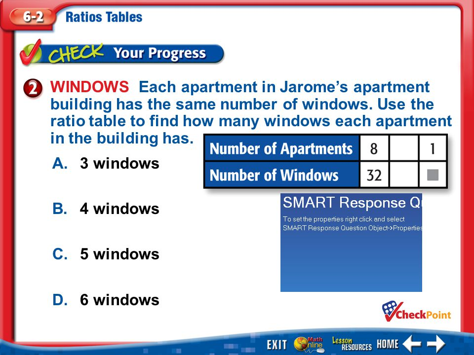 WINDOWS Each apartment in Jarome's apartment building has the same number of windows. Use the ratio table to find how many windows each apartment in the building has.