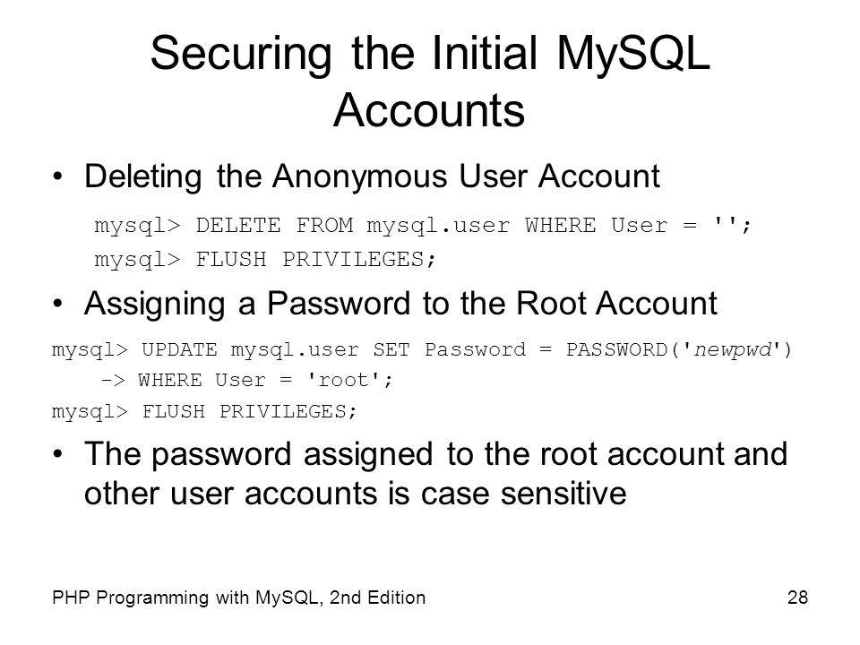 Securing the Initial MySQL Accounts