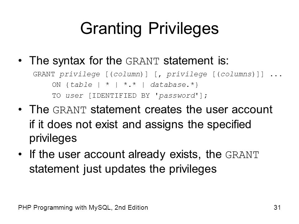 Granting Privileges The syntax for the GRANT statement is: