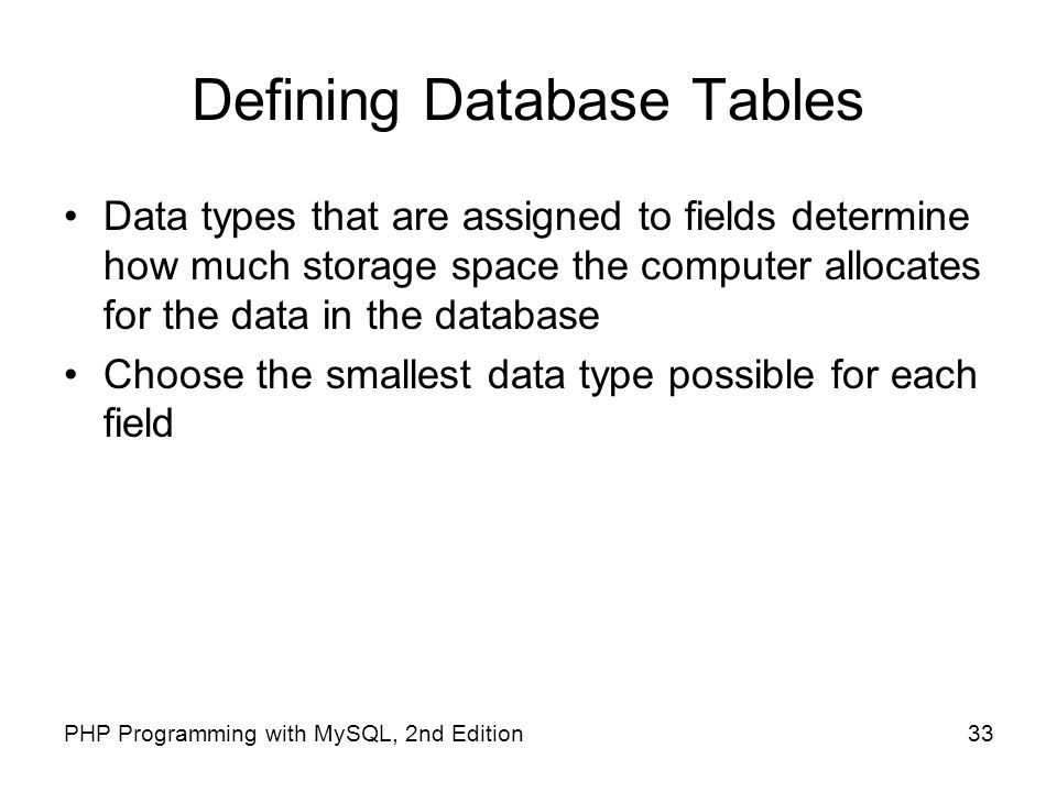 Defining Database Tables