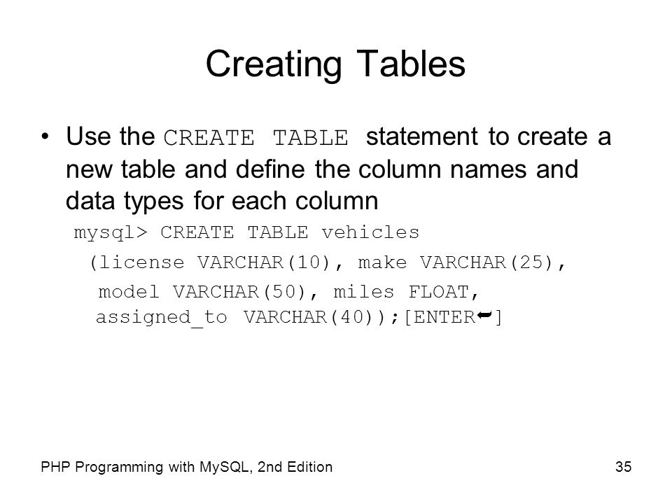 Creating Tables Use the CREATE TABLE statement to create a new table and define the column names and data types for each column.