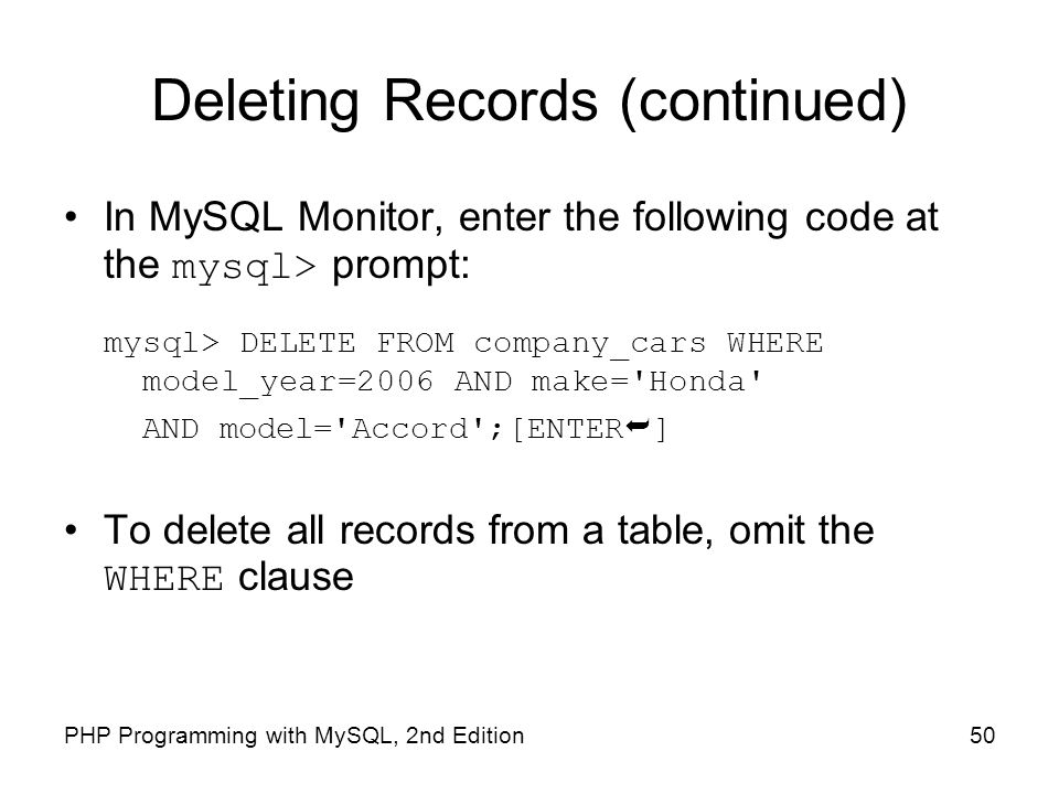 Deleting Records (continued)