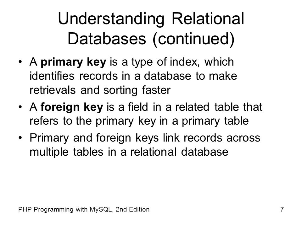 Understanding Relational Databases (continued)