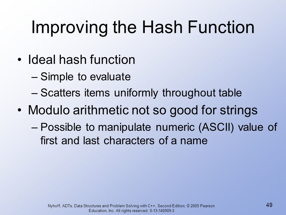 Improving the Hash Function