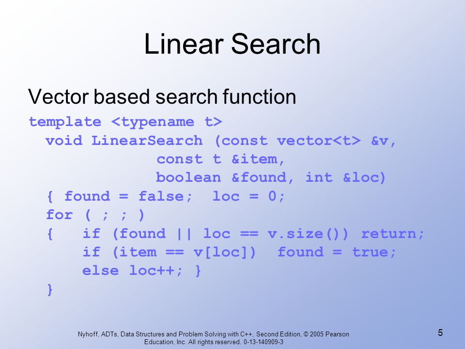 Linear Search Vector based search function