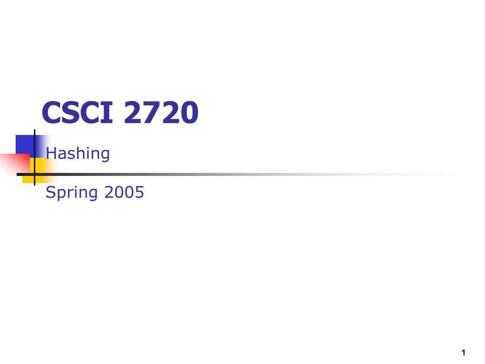 CSCI 2720 Hashing Spring 2005