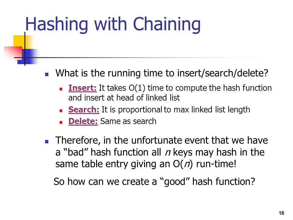 Hashing with Chaining What is the running time to insert/search/delete