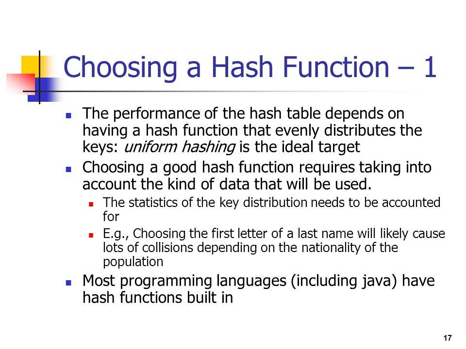 Choosing a Hash Function – 1