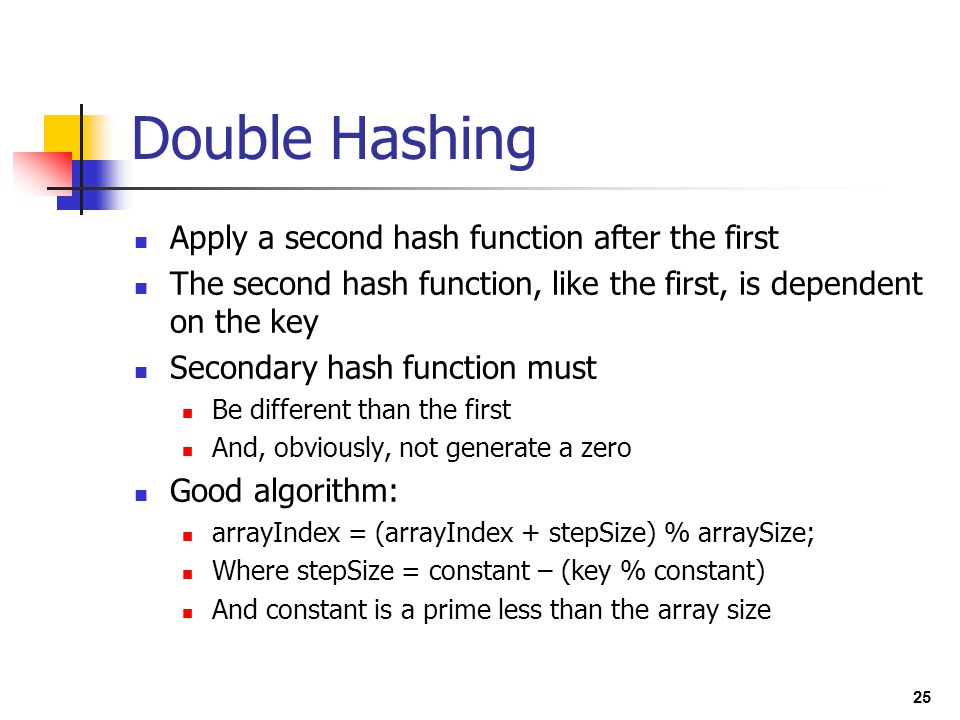 Double Hashing Apply a second hash function after the first