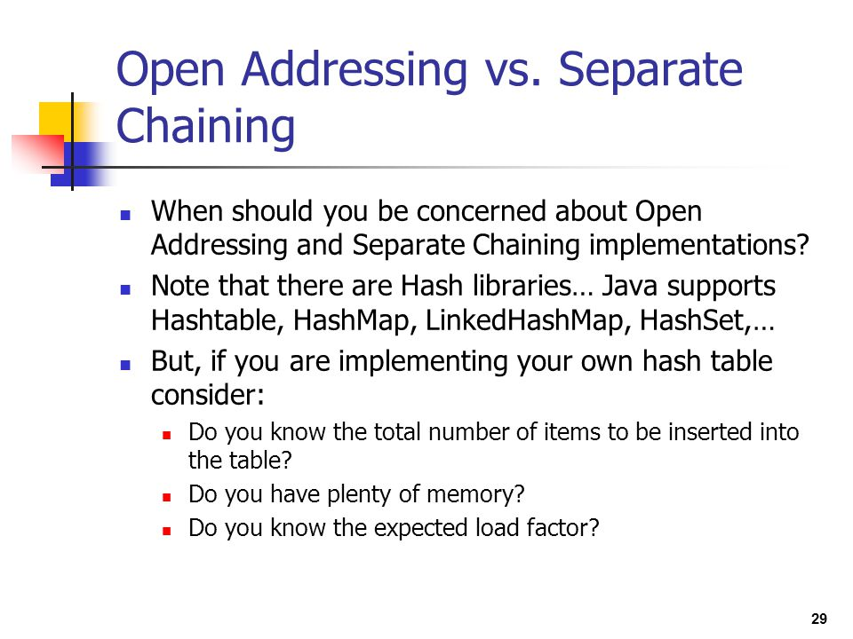 Open Addressing vs. Separate Chaining