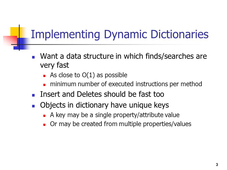 Implementing Dynamic Dictionaries