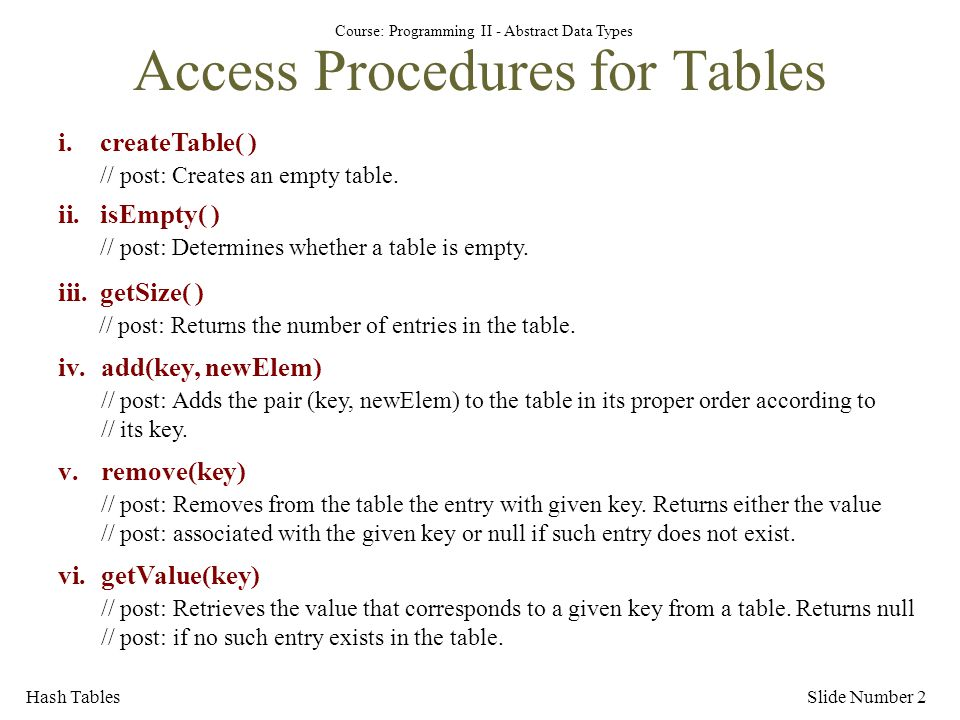 Access Procedures for Tables