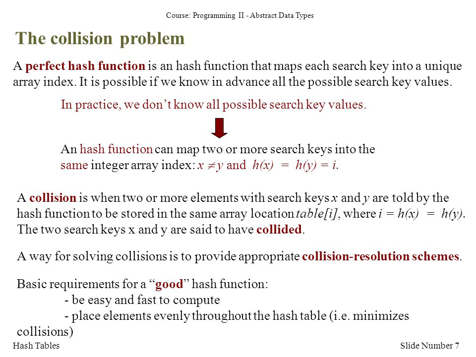 The collision problem