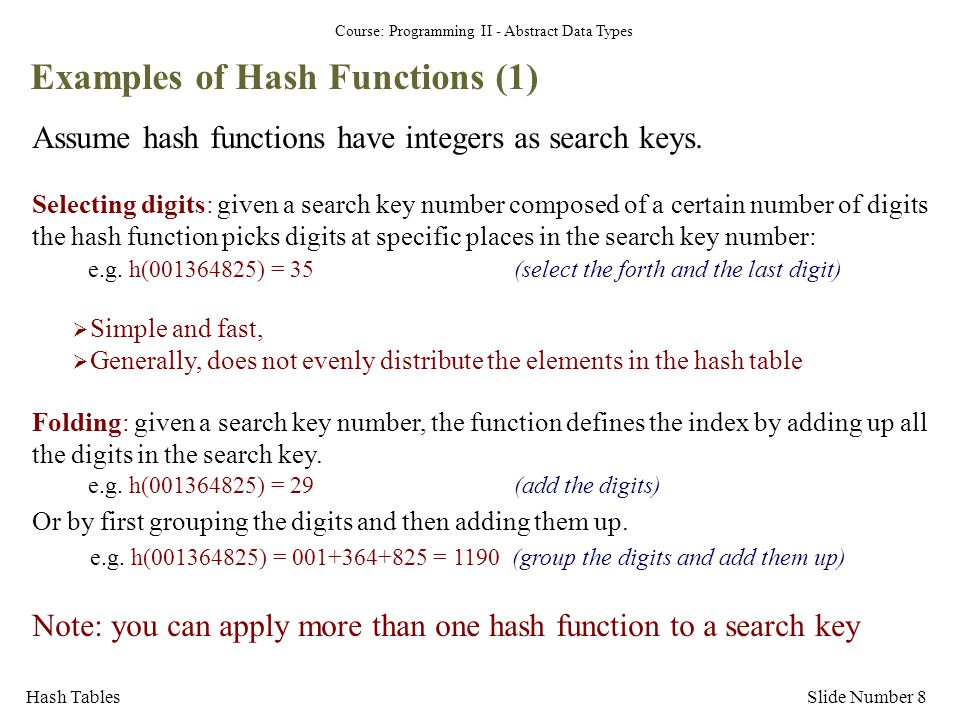 Examples of Hash Functions (1)