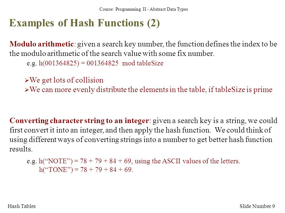Examples of Hash Functions (2)