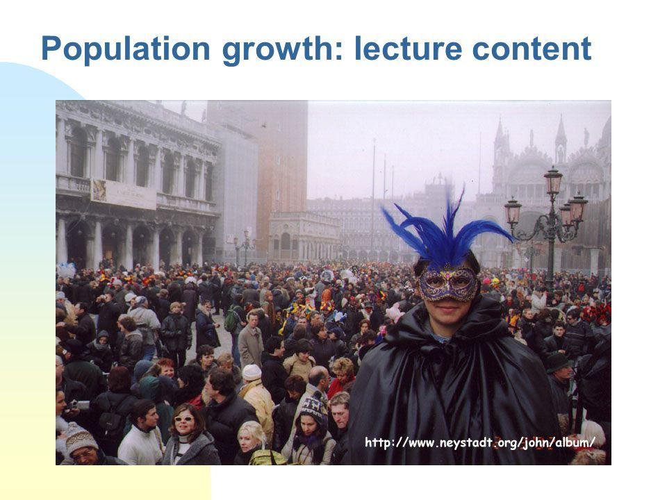 Population growth: lecture content