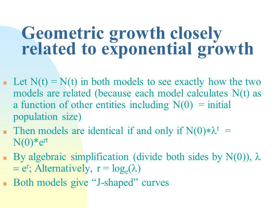 Geometric growth closely related to exponential growth