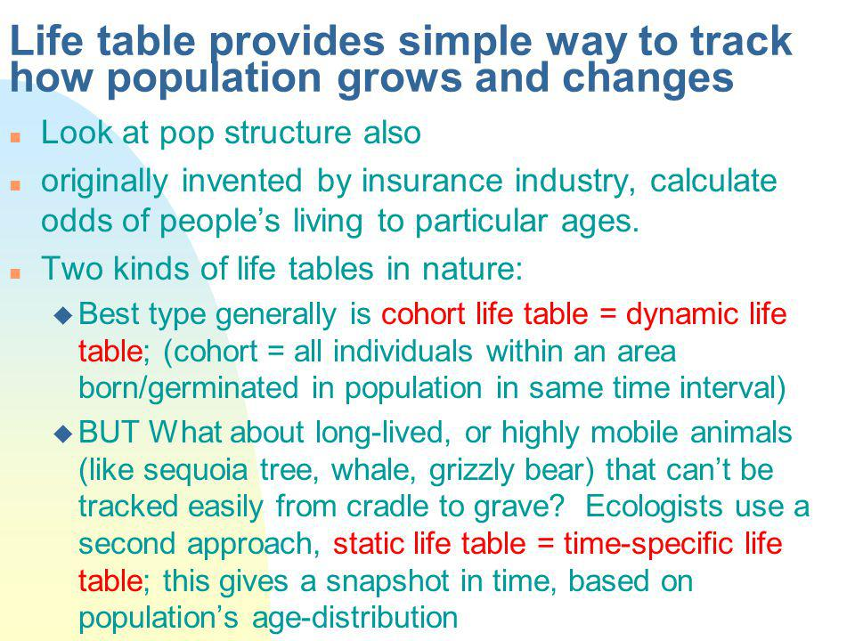 Life table provides simple way to track how population grows and changes