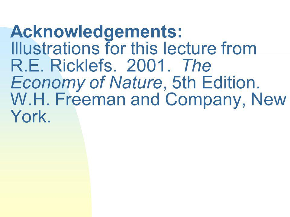Acknowledgements: Illustrations for this lecture from R. E. Ricklefs