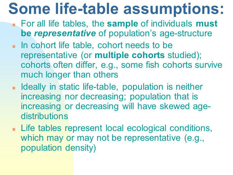 Some life-table assumptions: