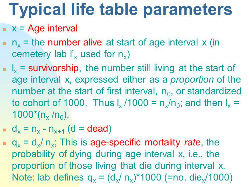 Typical life table parameters