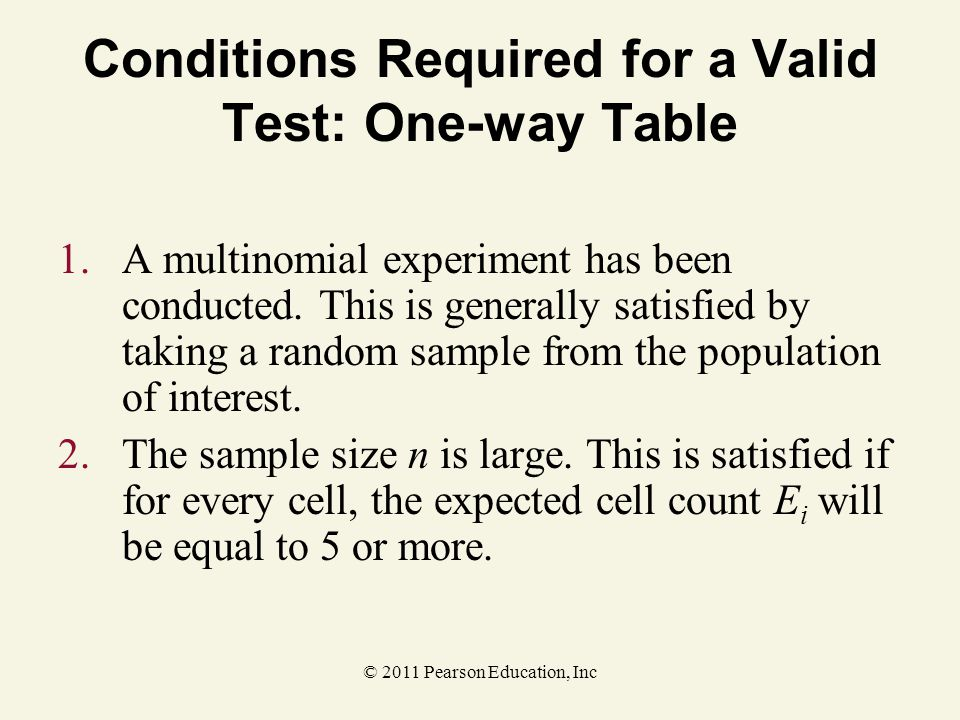 Conditions Required for a Valid Test: One-way Table