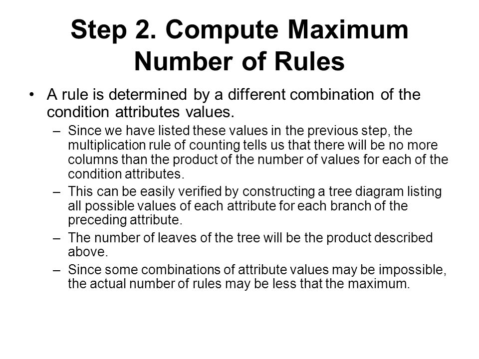 Step 2. Compute Maximum Number of Rules