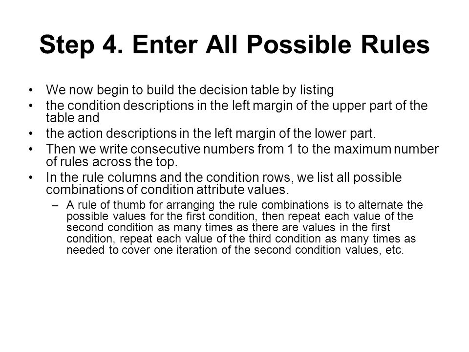 Step 4. Enter All Possible Rules