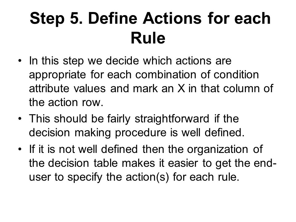 Step 5. Define Actions for each Rule