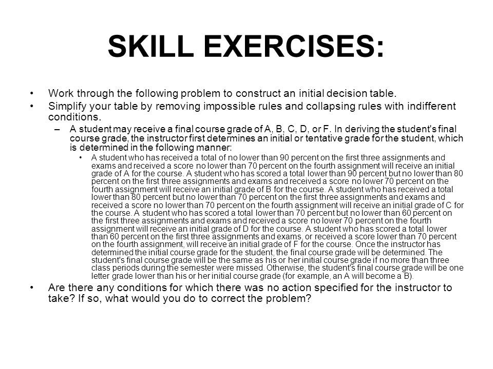 SKILL EXERCISES: Work through the following problem to construct an initial decision table.