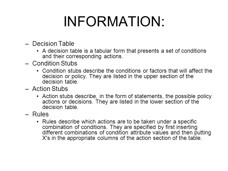 INFORMATION: Decision Table Condition Stubs Action Stubs Rules