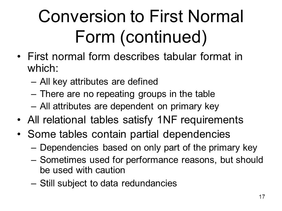 Conversion to First Normal Form (continued)
