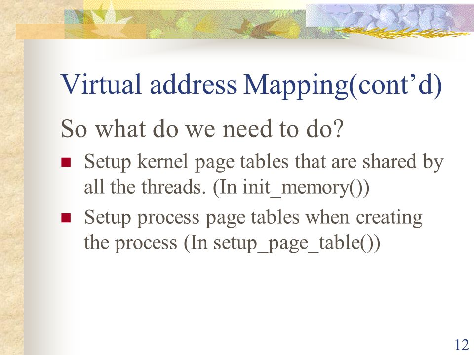Virtual address Mapping(cont'd)