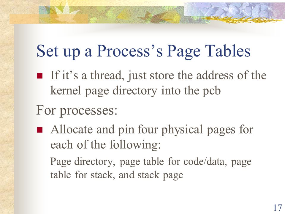 Set up a Process's Page Tables