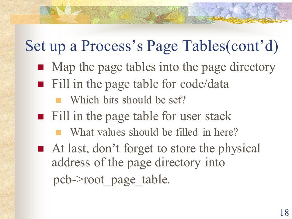 Set up a Process's Page Tables(cont'd)
