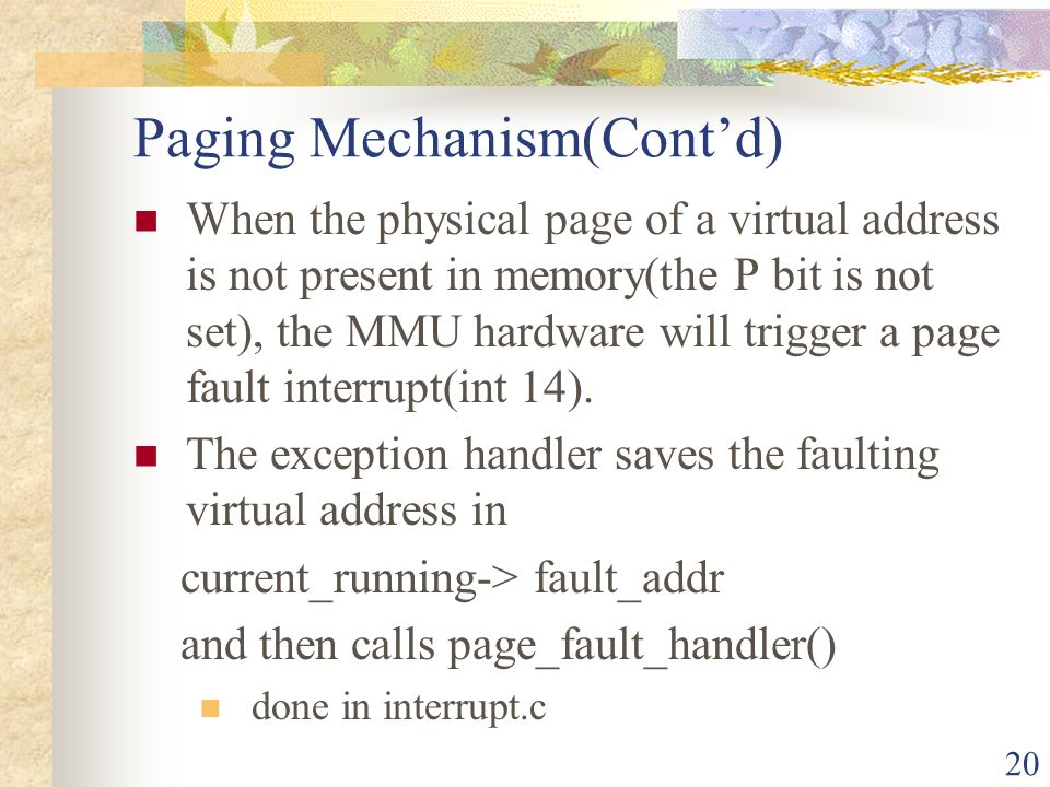 Paging Mechanism(Cont'd)