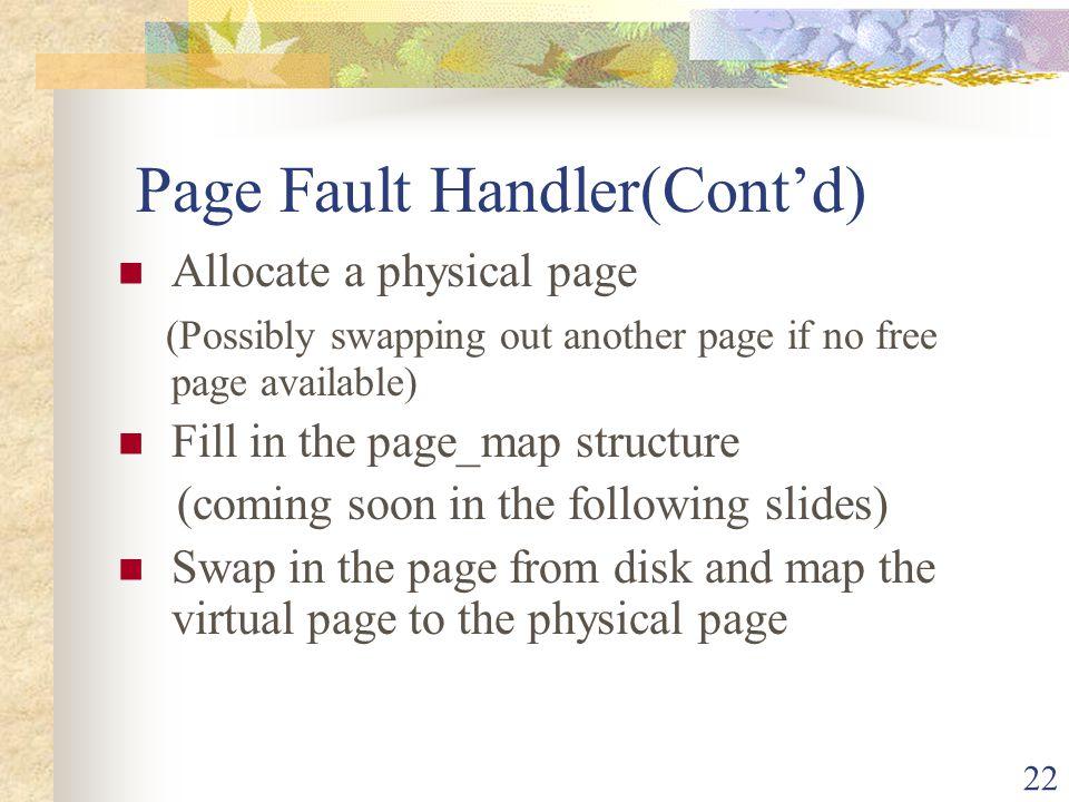 Page Fault Handler(Cont'd)