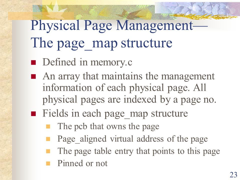 Physical Page Management— The page_map structure