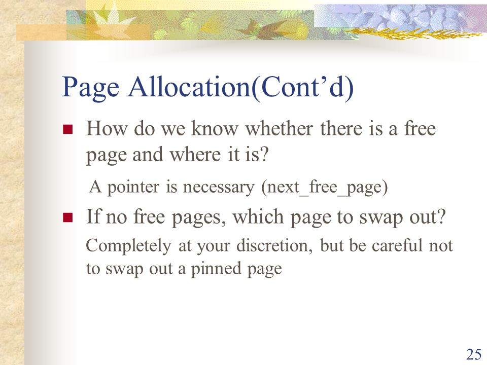 Page Allocation(Cont'd)