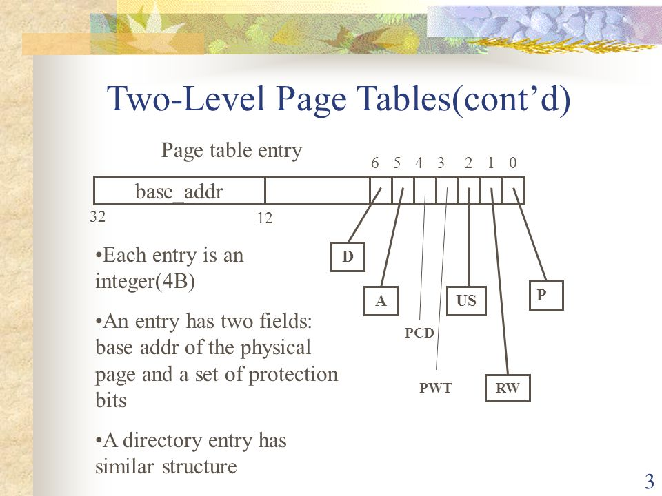 Two-Level Page Tables(cont'd)