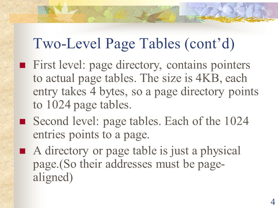 Two-Level Page Tables (cont'd)
