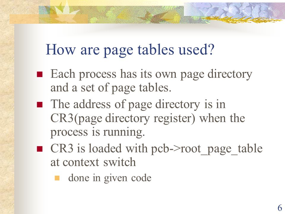 How are page tables used