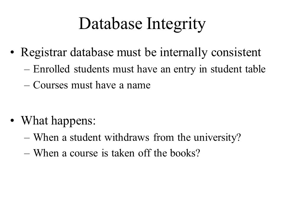 Database Integrity Registrar database must be internally consistent