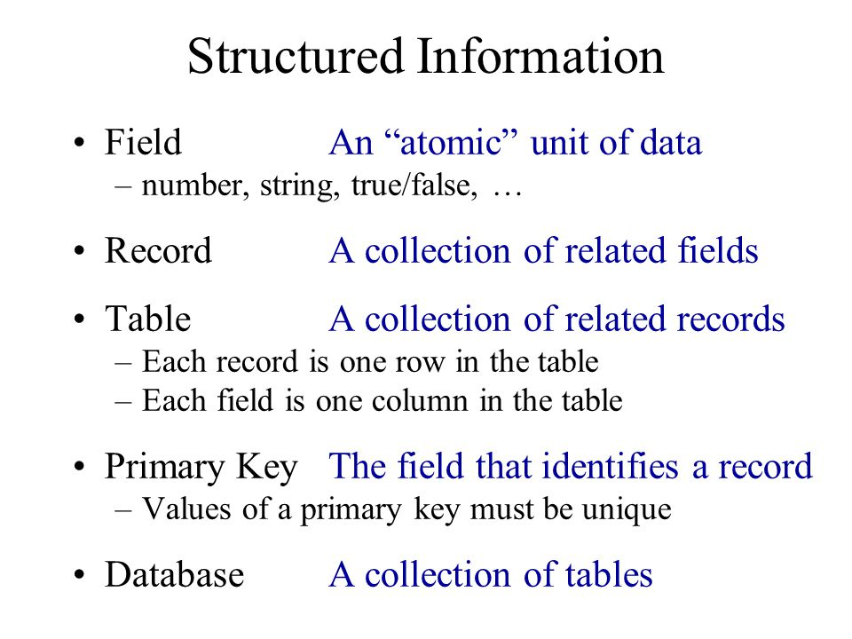 Structured Information
