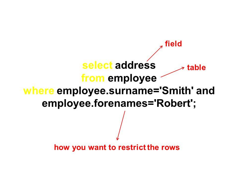 where employee.surname= Smith and employee.forenames= Robert ;