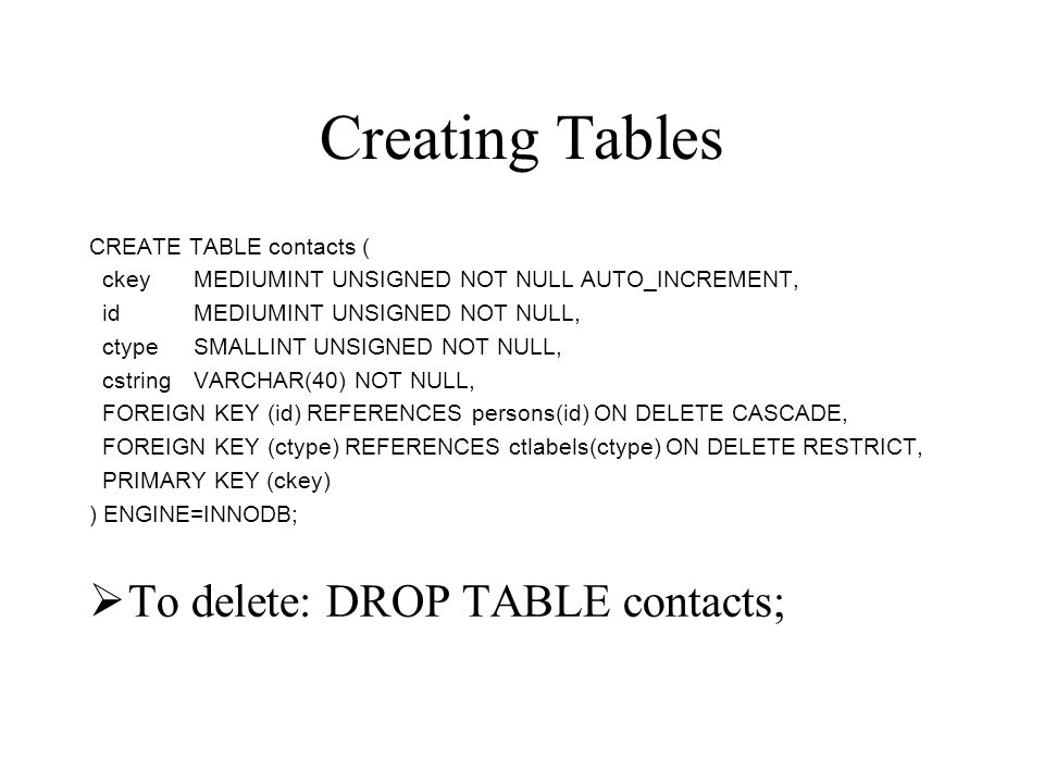 Creating Tables To delete: DROP TABLE contacts;