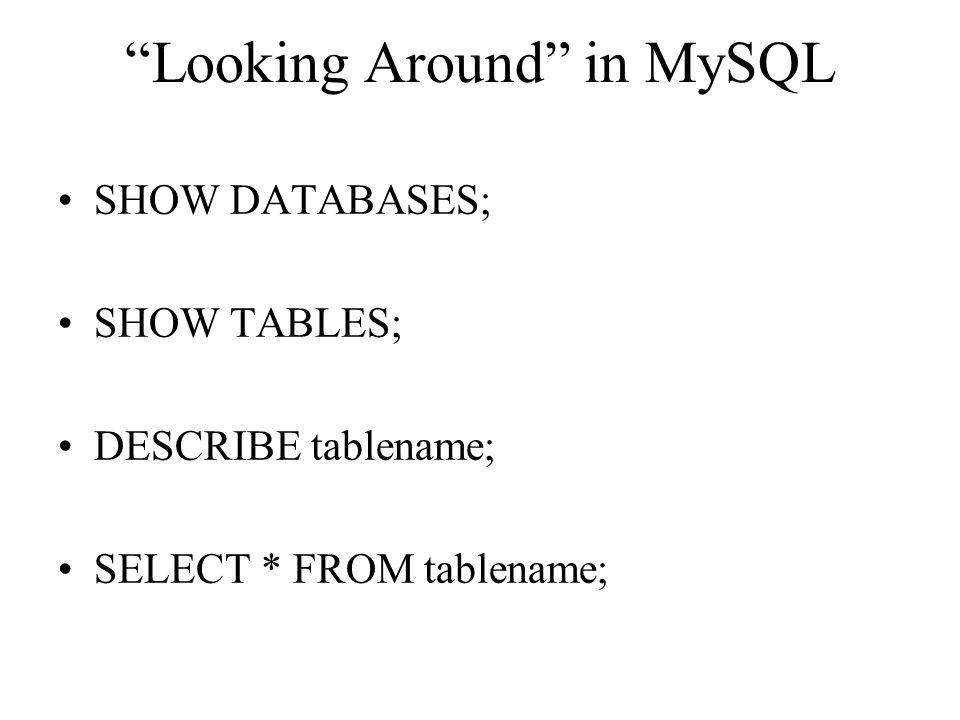 Looking Around in MySQL